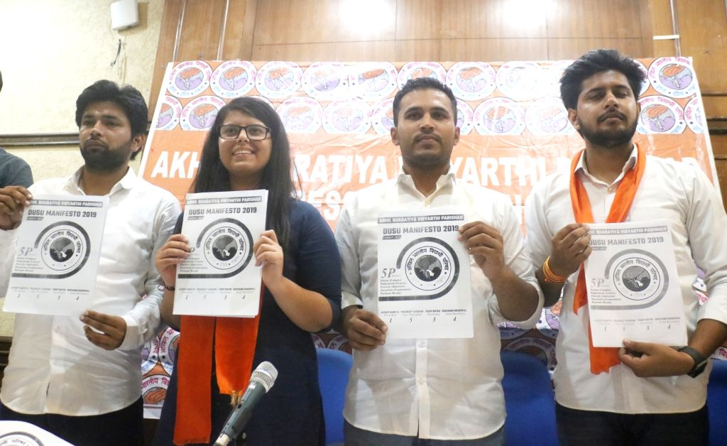 Akhil Bharatiya Vidyarthi Parishad (ABVP) candidates release their election manifesto for elections to Delhi University Students Union (DUSU), in New Delhi on Sep 7, 2019.