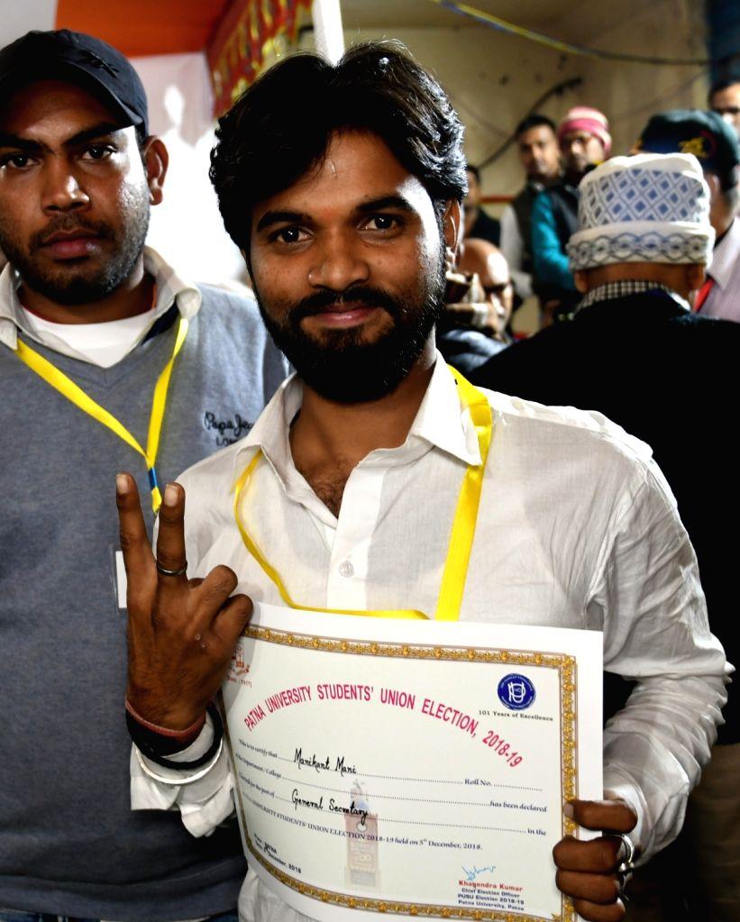 Akhil Bharatiya Vidyarthi Parishad's (ABVP) Manikant Mani after winning the post of general secretary in Patna University Students Union (PUSU) elections, on Dec 6, 2018.