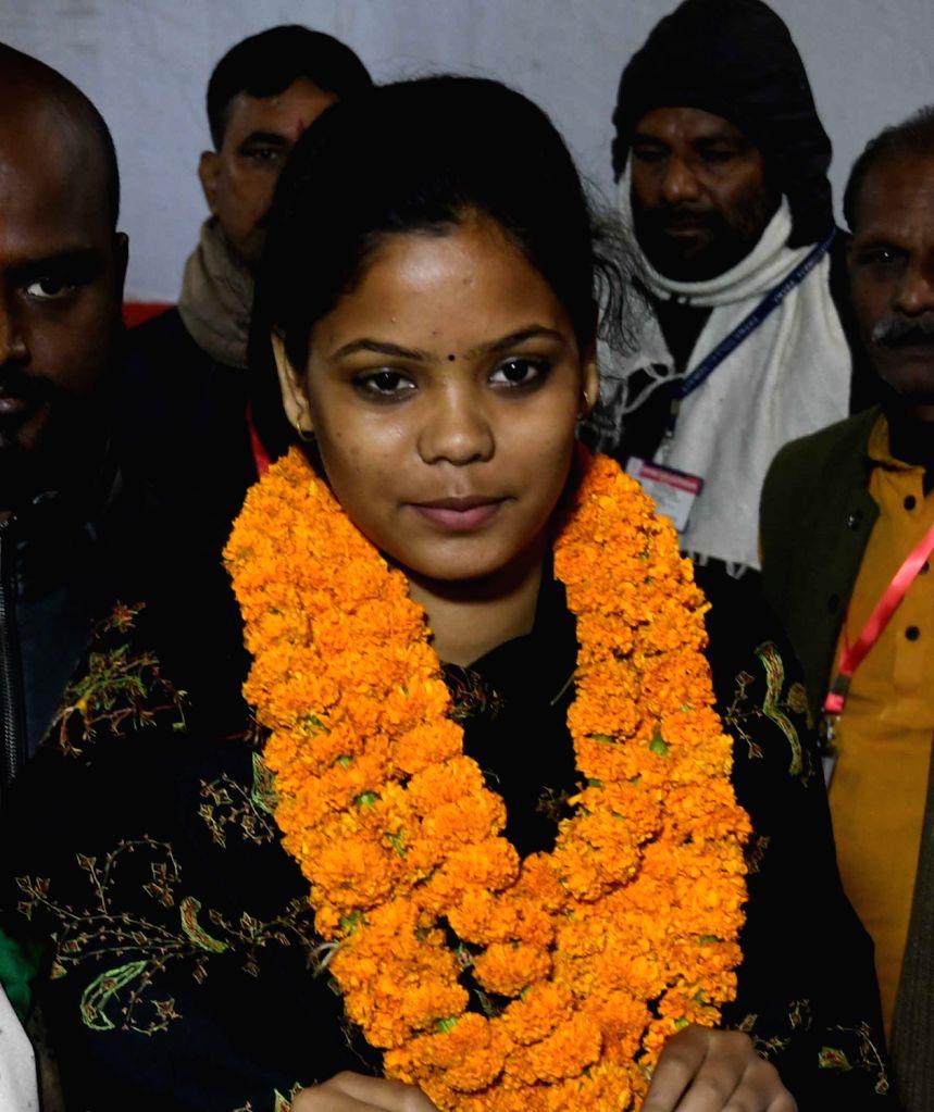 Akhil Bharatiya Vidyarthi Parishad's (ABVP) Anjana Singh after winning the post of vice president in Patna University Students Union (PUSU) elections, on Dec 6, 2018. - Anjana Singh