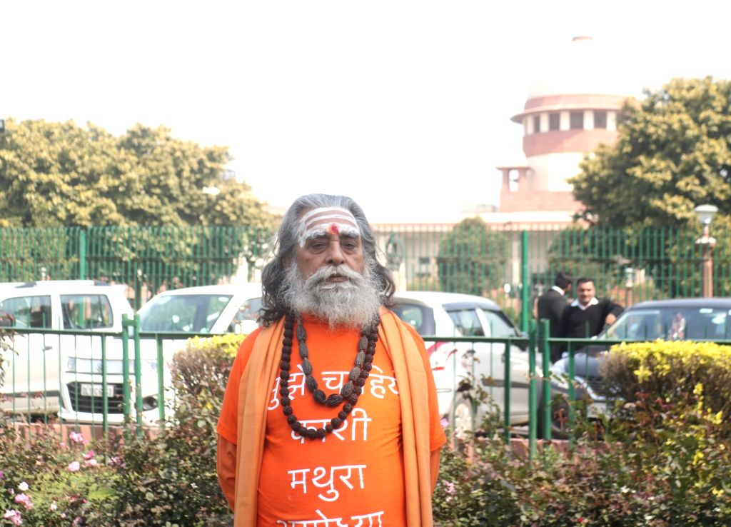 Akhil Bhartiya Hindu Mahasabha President Nand Kishore Mishra at Supreme Court in New Delhi on March 8, 2019. The Supreme Court on Friday ordered mediation to settle the Ram ... - Nand Kishore Mishra