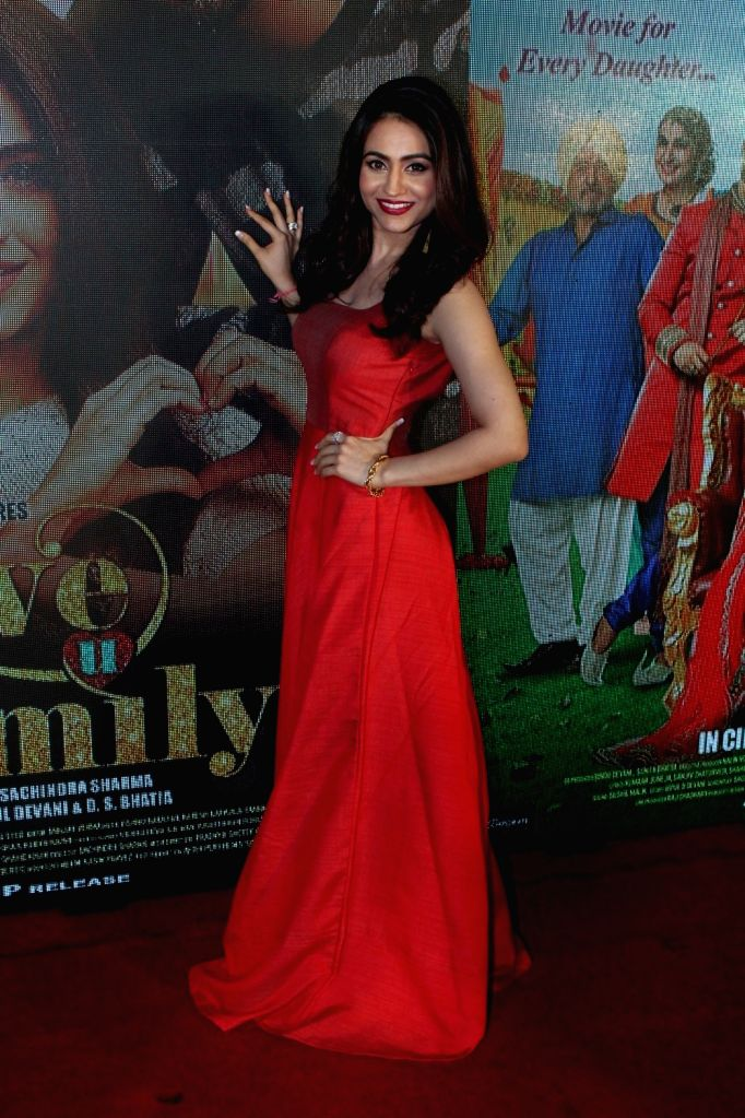 Aksha Pardasany during the music and trailer launch of film Love You Family in Mumbai on May 15, 2017.