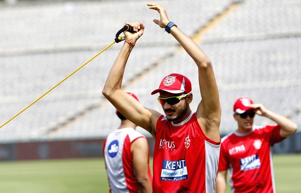 Akshar Patel of Kings XI Punjab, during a practice session in Mohali on April 7, 2018. - Akshar Patel
