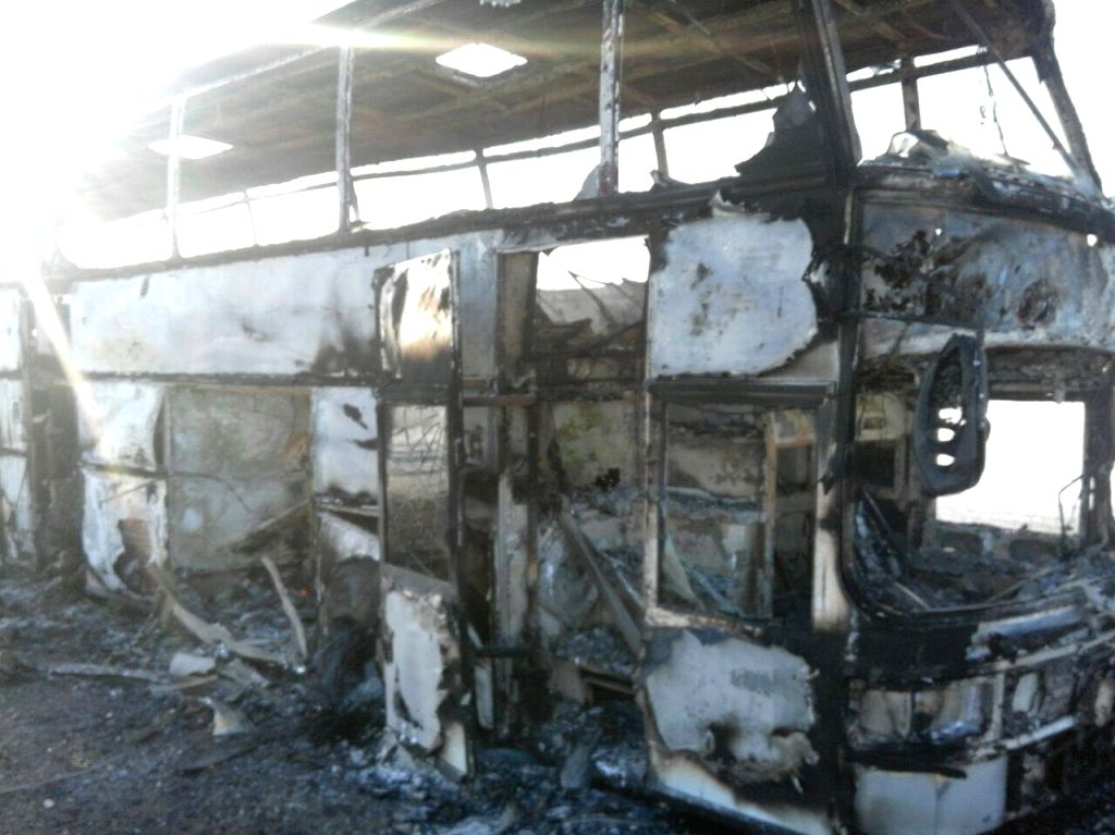 AKTOBE, Jan. 18, 2018 - Photo taken on Jan. 18, 2018 shows a burnt bus in northwest Kazakhstan's Aktobe Region. At least 52 people were killed after the bus caught fire in northwest Kazakhstan, media ...