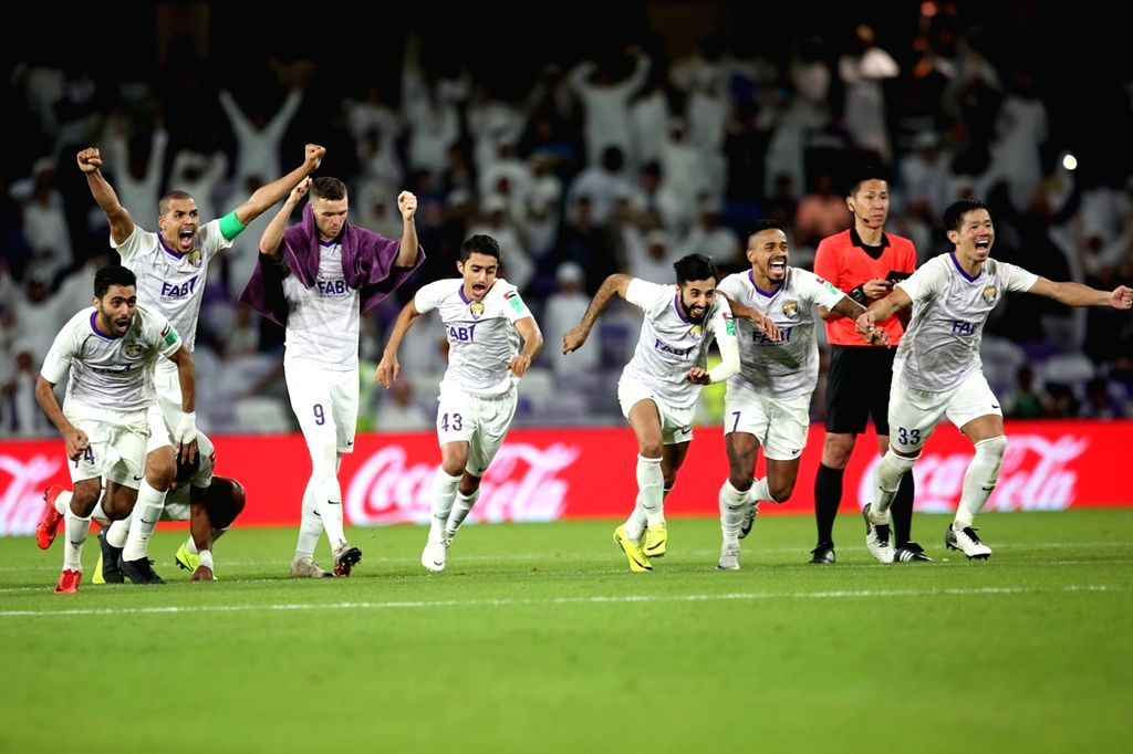 AL AIN, Dec. 13, 2018 - Players of Al Ain celebrate after the opening game between Al Ain and Wellington at the FIFA Club World Cup UAE 2018 in Al Ain, the United Arab Emirates (UAE), Dec. 12, 2018. ...