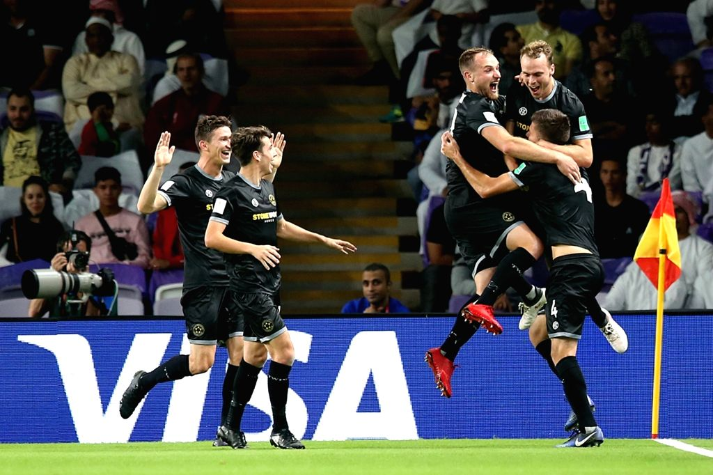 AL AIN, Dec. 13, 2018 - Players of Wellington celebrate a goal during the opening game between Al Ain and Wellington at the FIFA Club World Cup UAE 2018 in Al Ain, the United Arab Emirates (UAE), ...