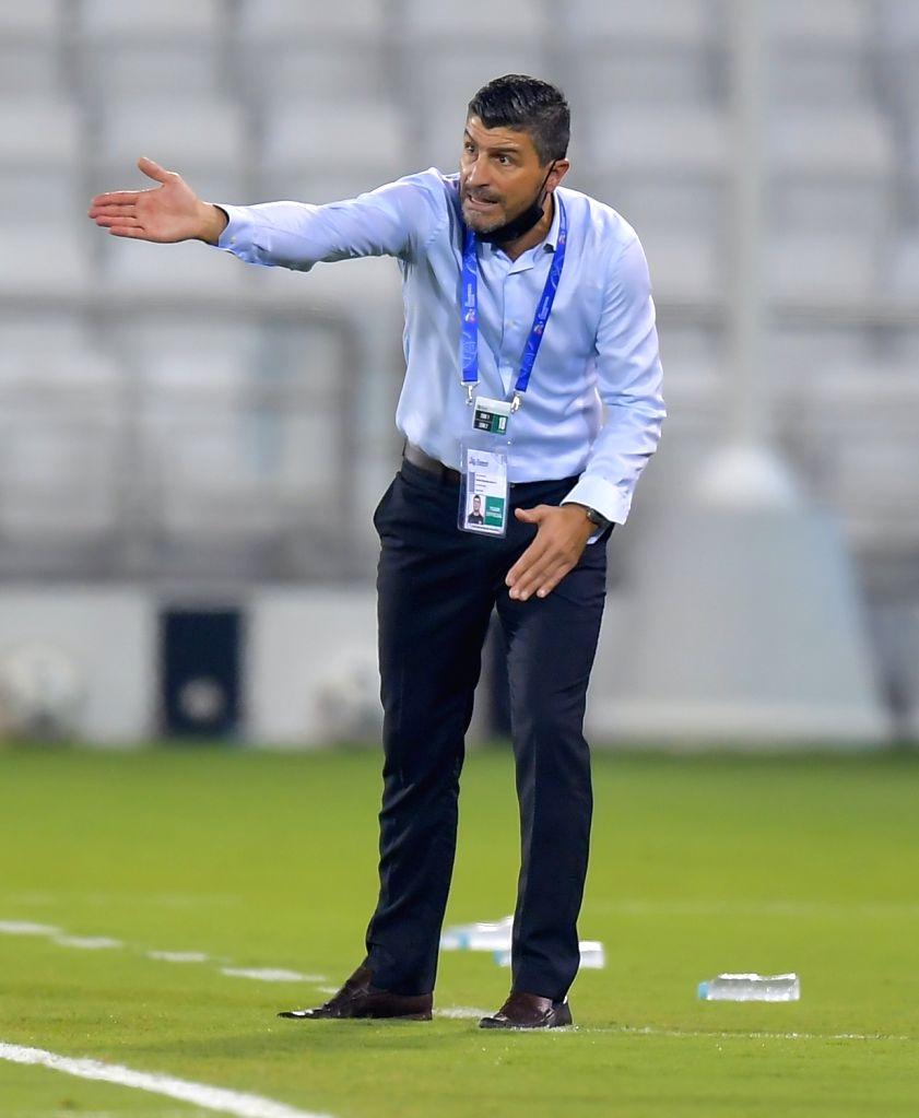 Al Ain FC's head coach Pedro Emanuel reacts during the AFC Asian Champions League group D football match between Al Sadd SC of Qatar and Al Ain FC of United Arab ...