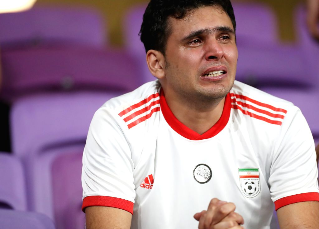 AL AIN, Jan. 29, 2019 - A fan of Iran reacts after the semifinal match between Japan and Iran at the 2019 AFC Asian Cup at the Hazza Bin Zayed Stadium in Al Ain, the United Arab Emirates, Jan. 28, ...