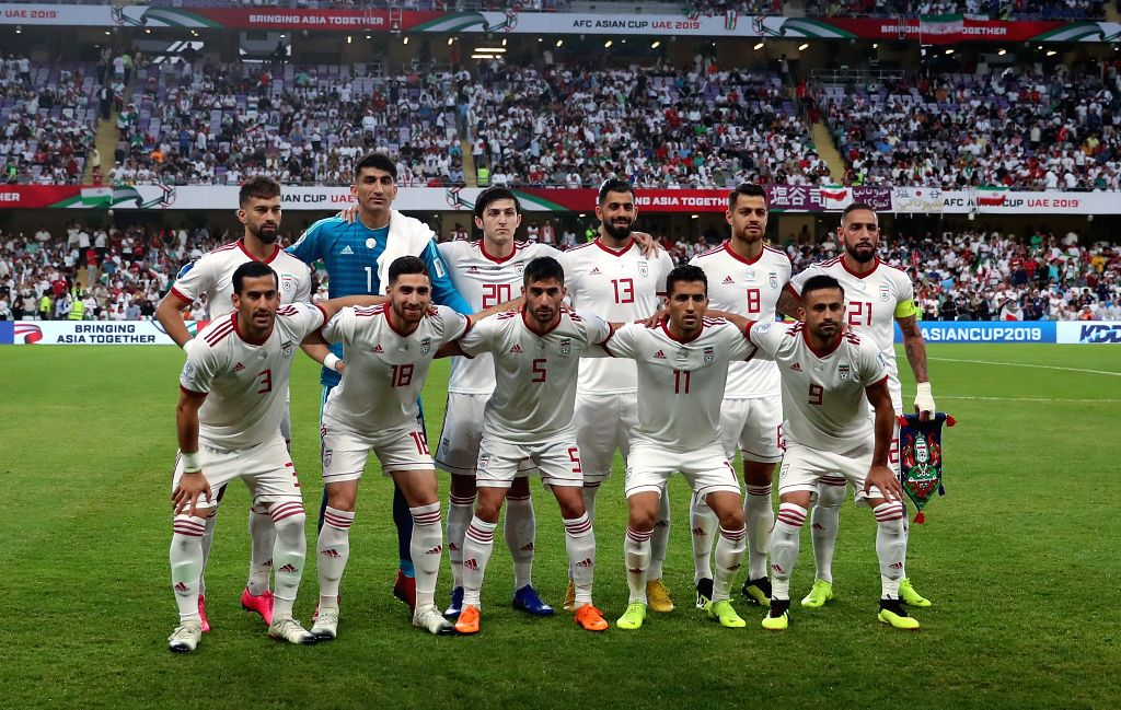 AL AIN, Jan. 29, 2019 - Iran's players take group photos before the semifinal match between Japan and Iran at the 2019 AFC Asian Cup at the Hazza Bin Zayed Stadium in Al Ain, the United Arab ...