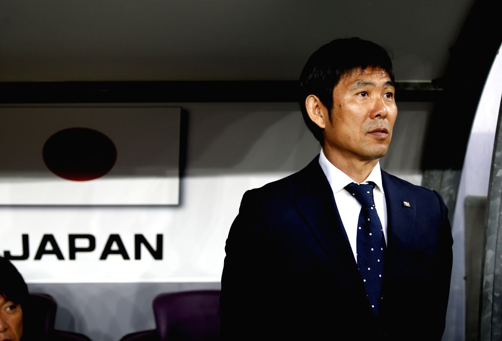 AL AIN, Jan. 29, 2019 - Japan's head coach Hajime Moriyasu reacts before the semifinal match between Japan and Iran at the 2019 AFC Asian Cup at the Hazza Bin Zayed Stadium in Al Ain, the United Arab ...
