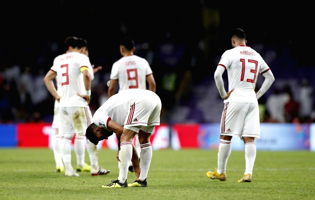 AL AIN, Jan. 29, 2019 - Players of Iran react after the semifinal match between Japan and Iran at the 2019 AFC Asian Cup at the Hazza Bin Zayed Stadium in Al Ain, the United Arab Emirates, Jan. 28, ...
