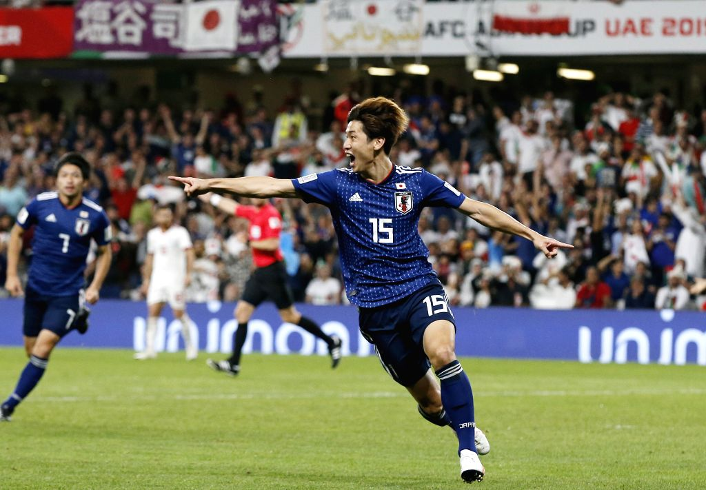 AL AIN, Jan. 29, 2019 - Yuya Osako of Japan celebrate after scoring during the semifinal match between Japan and Iran at the 2019 AFC Asian Cup at the Hazza Bin Zayed Stadium in Al Ain, the United ...