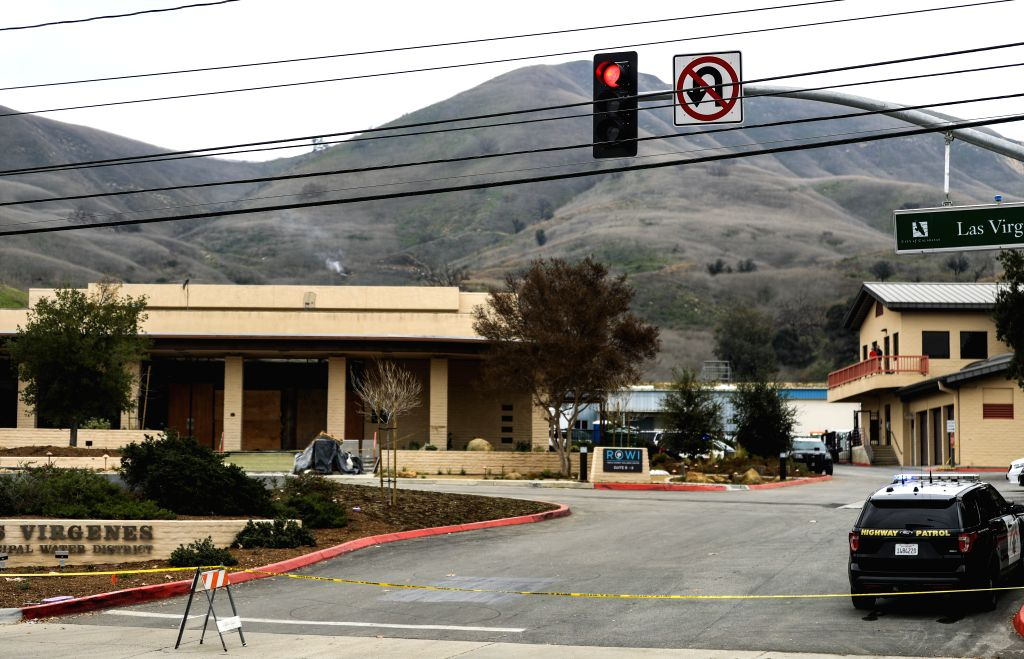 ALABASAS (U.S.), Jan. 26, 2020 Police cordon off an area near the site of a helicopter crash in Calabasas of southern California, the United States, on Jan. 26, 2020. Retired NBA star ...