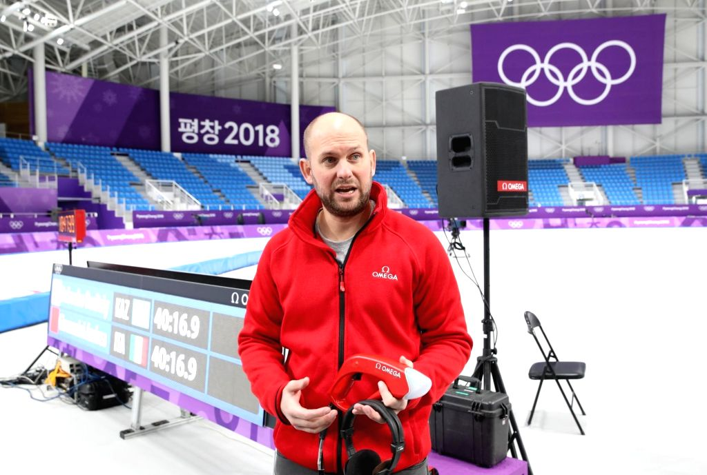 Alain Zobrist, CEO of OMEGA Timing, explains the technology used by the PyeongChang Olympics' official timekeeper during a timekeeping demonstration at Gangneung Ice Arena in Gangneung, ...