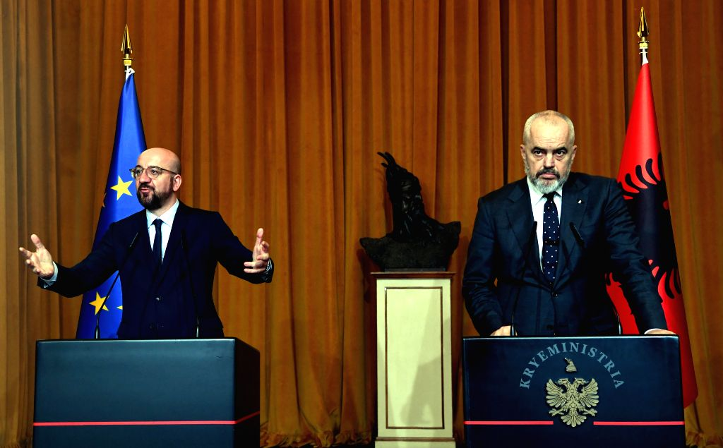 Albanian Prime Minister Edi Rama (R) and President of the European Council Charles Michel attend a joint press conference in Tirana, Albania, on Jan. 24, 2020. The ... - Edi Rama