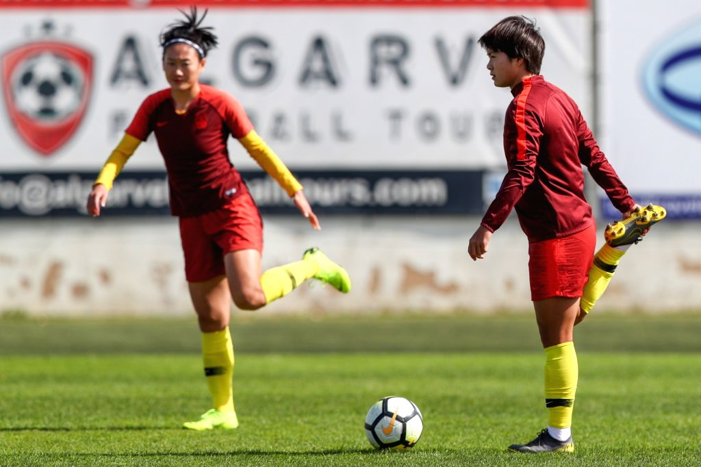 ALBUFEIRA, Feb. 27, 2019 - Chinese women's soccer player Wang Shuang (R) takes part in a training session in Albufeira, Portugal, Feb. 26, 2019. The 2019 Algarve Cup will be held in Algarve of ...