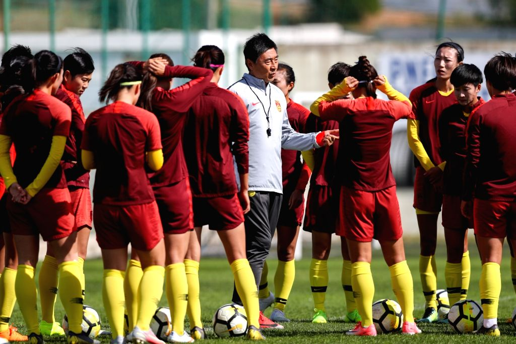 ALBUFEIRA, Feb. 27, 2019 - Chinese women's soccer players take part in a training session in Albufeira, Portugal, Feb. 26, 2019. The 2019 Algarve Cup will be held in Algarve of Portugal from Feb. 27 ...