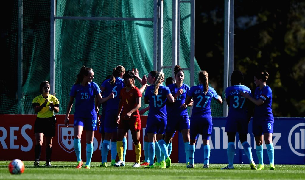 ALBUFEIRA, March 2, 2017 - Players of the Netherlands celebrate during a Group C match with China at the 2017 Algarve Cup women's football tournament in Albufeira, Portugal, March 1, 2017. China lost ...