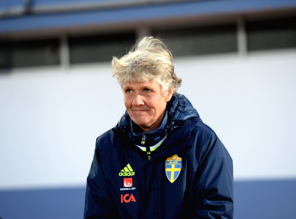 ALBUFEIRA, March 4, 2017 - Pia Sundhage, coach of Sweden, looks on before a Group C match betwee Sweden and China at the 2017 Algarve Cup women's football tournament in Albufeira, Portugal, March 3, ...