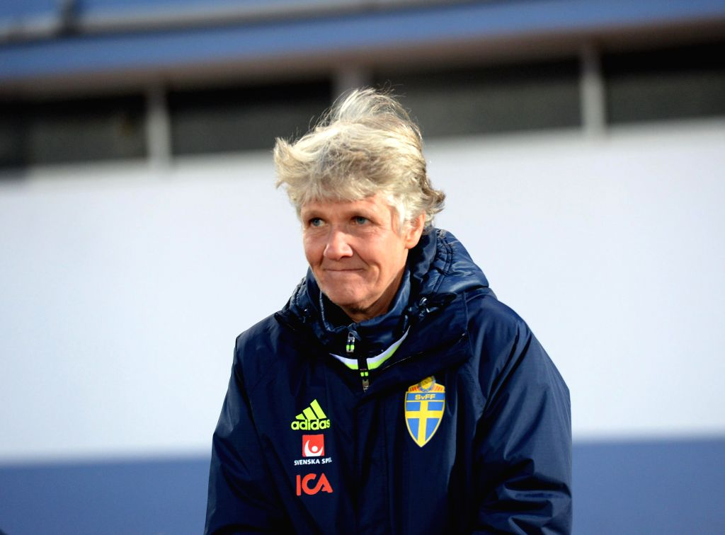 ALBUFEIRA, March 4, 2017 (Xinhua) -- Pia Sundhage, coach of Sweden, looks on before a Group C match betwee Sweden and China at the 2017 Algarve Cup women's football tournament in Albufeira, Portugal, March 3, 2017. The match ended with a 0-0 draw. (X