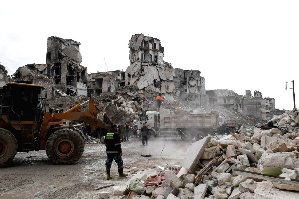 ALEPPO, Feb. 2, 2019 - Rescuers clear the rubble of a collapsed building in Aleppo, Syria, Feb. 2, 2019. A building in the eastern part of Aleppo city in northern Syria collapsed on Saturday, killing ...