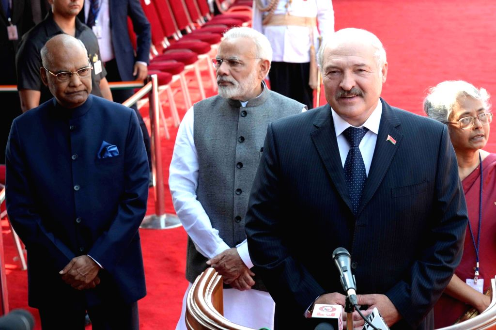 Alexander Lukashenko, President of the Republic of Belarus addressing the media during his ceremonial reception at Rashtrapati Bhavan on Sept. 12, 2017.