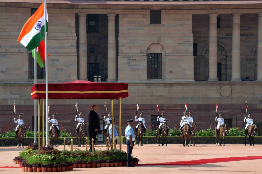 Alexander Lukashenko, President of the Republic of Belarus inspecting the Guard of Honour during his ceremonial reception at Rashtrapati Bhavan on Sept. 12, 2017.
