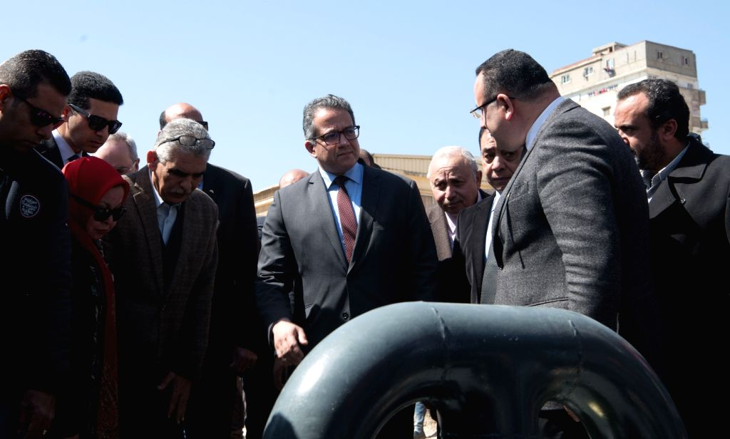 ALEXANDRIA (EGYPT), March 3, 2019 Egypt's Minister of Antiquities Khaled al-Anany (C) inspects the ancient Kom al-Shoqafa tombs in the northern seaside Alexandria province, Egypt, on ...