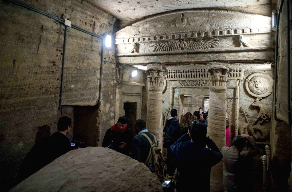 ALEXANDRIA (EGYPT), March 3, 2019 Photo taken on March 3, 2019 shows the catacombs of ancient Kom al-Shoqafa tombs in the northern seaside Alexandria province, Egypt. The Egyptian ...