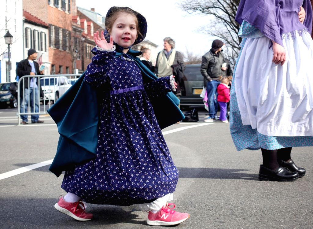 ALEXANDRIA, Feb. 19, 2019 - People take part in the George Washington Birthday Parade 2019 in Old Town Alexandria, Virginia, the United States, Feb. 18, 2019. The annual George Washington Birthday ...