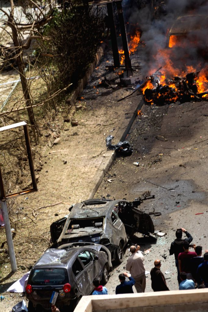 ALEXANDRIA, March 24, 2018 - Photo taken on March 24, 2018 shows an explosion site in Alexandria, Egypt. An Egyptian policeman was killed Saturday in Alexandria province in a bomb blast that targeted ...