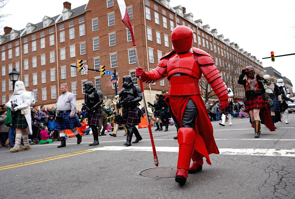 ALEXANDRIA, March 3, 2019 - People take part in the 38th Annual Alexandria St. Patrick's Day Parade in Old Town Alexandria, Virginia, the United States, March 2, 2019. More than 2,000 participants ...