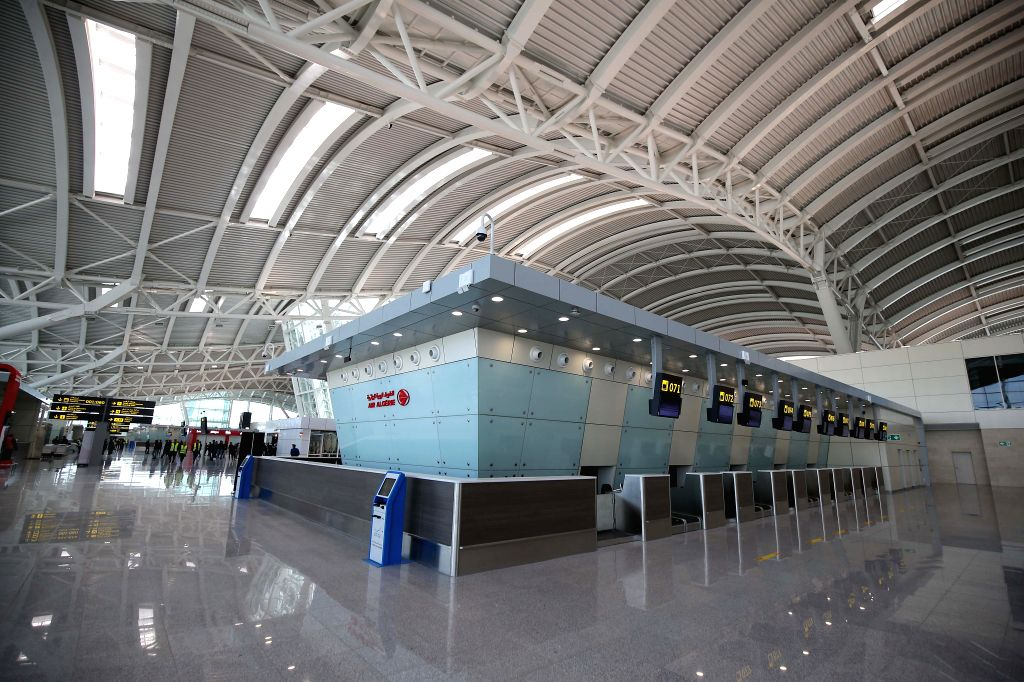 ALGIERS, April 24, 2019 - Photo taken on April 24, 2019 shows the interior of the new Algiers Airport in Algiers, Algeria. The airport built by China State Construction Engineering Corporation ...