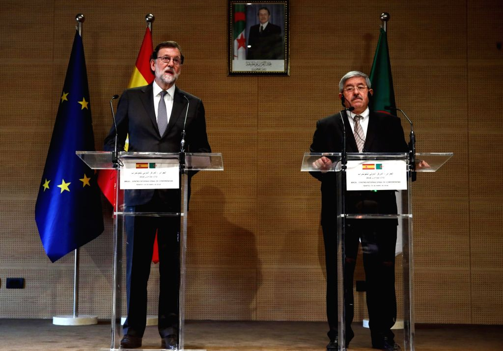 ALGIERS, April 3, 2018 - Spanish Prime Minister Mariano Rajoy Brey (L) and Algerian Prime Minister Ahmed Ouyahia attend a joint press conference after their meeting in Algiers, Algeria, April 3, ... - Mariano Rajoy Brey