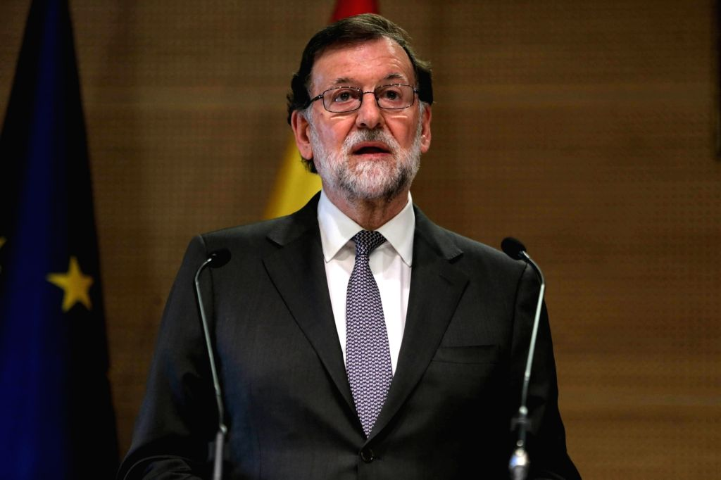 ALGIERS, April 3, 2018 - Spanish Prime Minister Mariano Rajoy Brey attends a joint press conference with Algerian Prime Minister Ahmed Ouyahia (not in the picture) after their meeting in Algiers, ... - Mariano Rajoy Brey