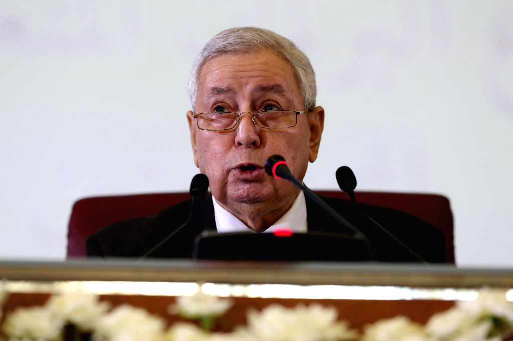 ALGIERS, April 9, 2019 - Abdelkader Bensalah attends a swearing-in ceremony in Algiers, Algeria on April 9, 2019. Algerian parliament on Tuesday appointed Abdelkader Bensalah as interim president, ...