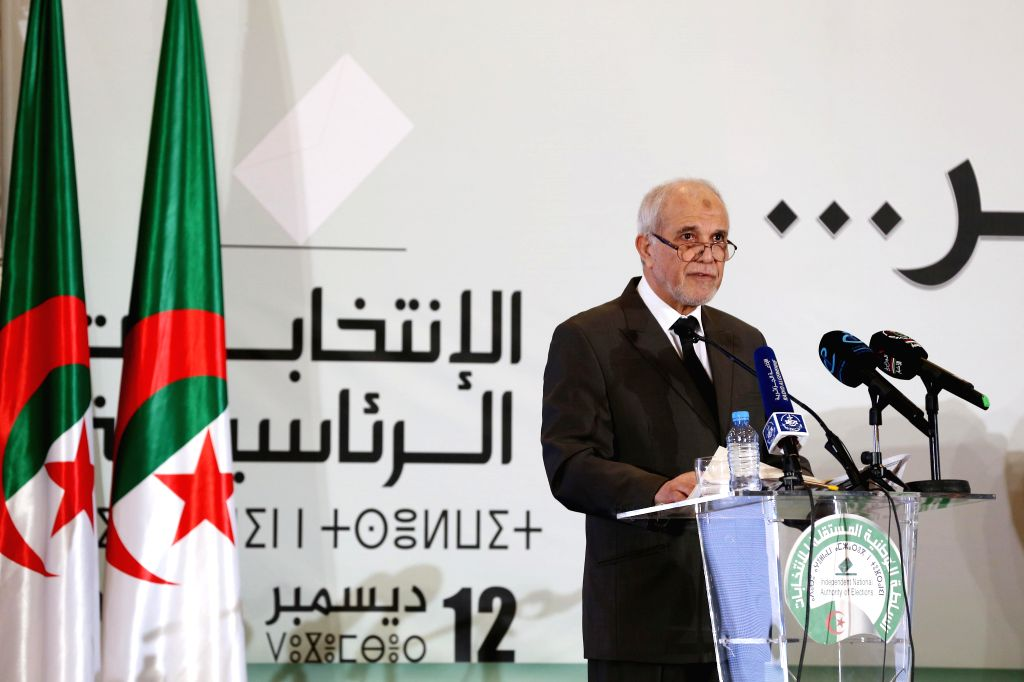 ALGIERS, Dec. 13, 2019 - Mohamed Chorfi, head of the National Independent Election Authority, announces Abdelmadjid Tebboune's victory in the presidential election in Algiers, Algeria, Dec. 13, 2019. ...
