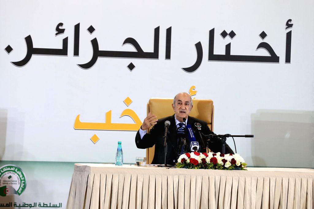 ALGIERS, Dec. 13, 2019 - The newly elected President of Algeria Abdelmadjid Tebboune speaks during a press conference in Algiers, Algeria, on Dec. 13, 2019. Abdelmadjid Tebboune on Friday said he ...