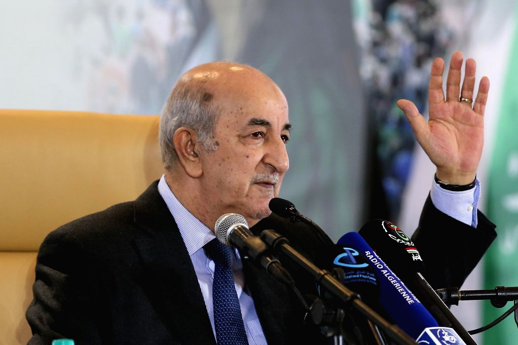 ALGIERS, Dec. 13, 2019 - The newly elected President of Algeria Abdelmadjid Tebboune attends a press conference in Algiers, Algeria, on Dec. 13, 2019. Abdelmadjid Tebboune on Friday said he committed ...