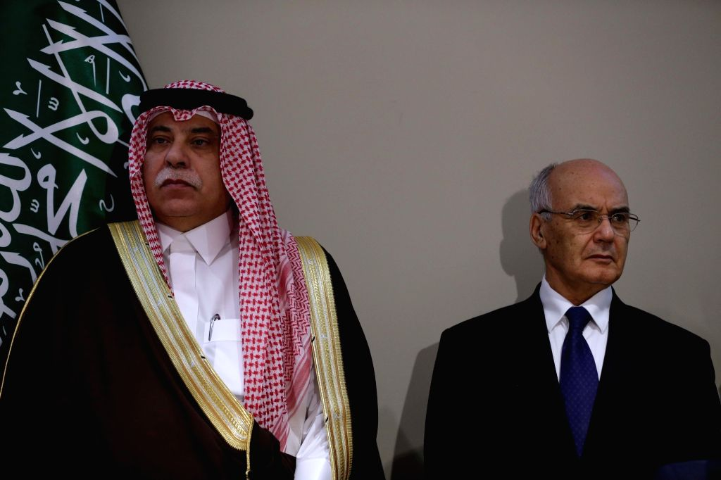ALGIERS, Dec. 3, 2018 - Saudi Minister of Commerce and Investment Majid bin Abdullah al Qassabi (L) and Algerian Minister of Industry and Mines Youcef Yousfi attend the 12th Algerian-Saudi Business ...