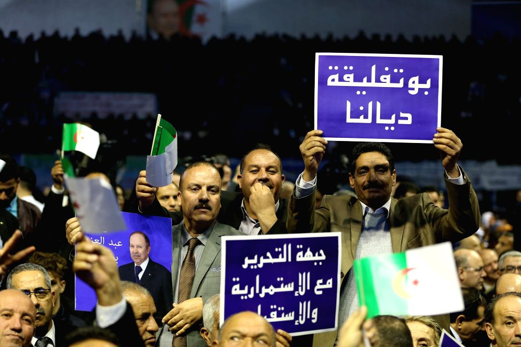 ALGIERS, Feb. 10, 2019 - The Algerian ruling party Front of National Liberation holds a meeting to support the current President Abdelaziz Bouteflika in the presidential election on April, in ...
