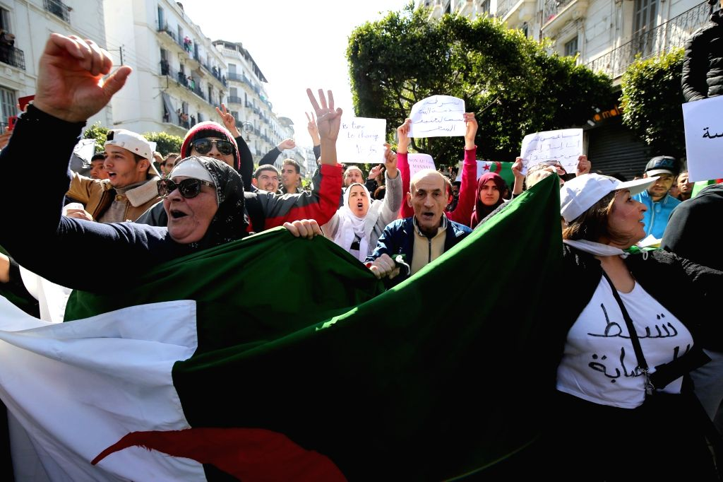 ALGIERS, March 1, 2019 - People participate in an anti-government protest in Algiers, Algeria, on March 1, 2019. Hundreds of thousands of Algerians on Friday took to the street for the largest ever ...