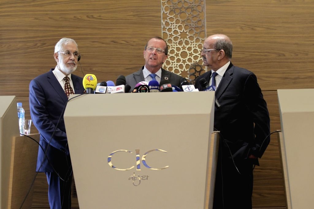 ALGIERS, May 8, 2017 - UN Special Envoy to Libya Martin Kobler (C) attends a press briefing with Algerian Minister of Maghreb Affairs, Arab League and African Union, Abdelkader Messahel (R) after the ...