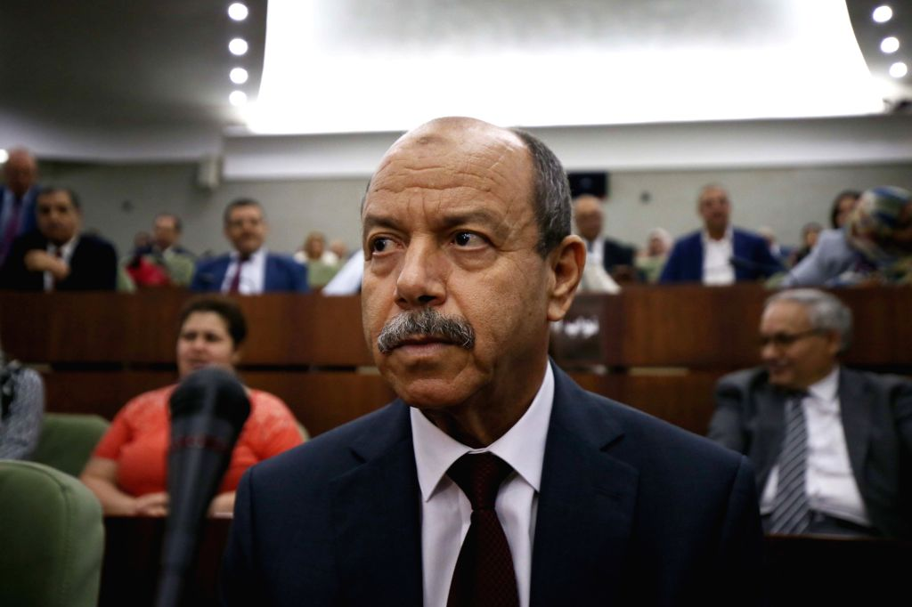 ALGIERS, Sept. 12, 2019 - Algerian Minister of Justice Belkacem Zeghmati is seen after Algerian People's National Assembly, the lower house of the parliament, voted on draft bills in Algiers, ...