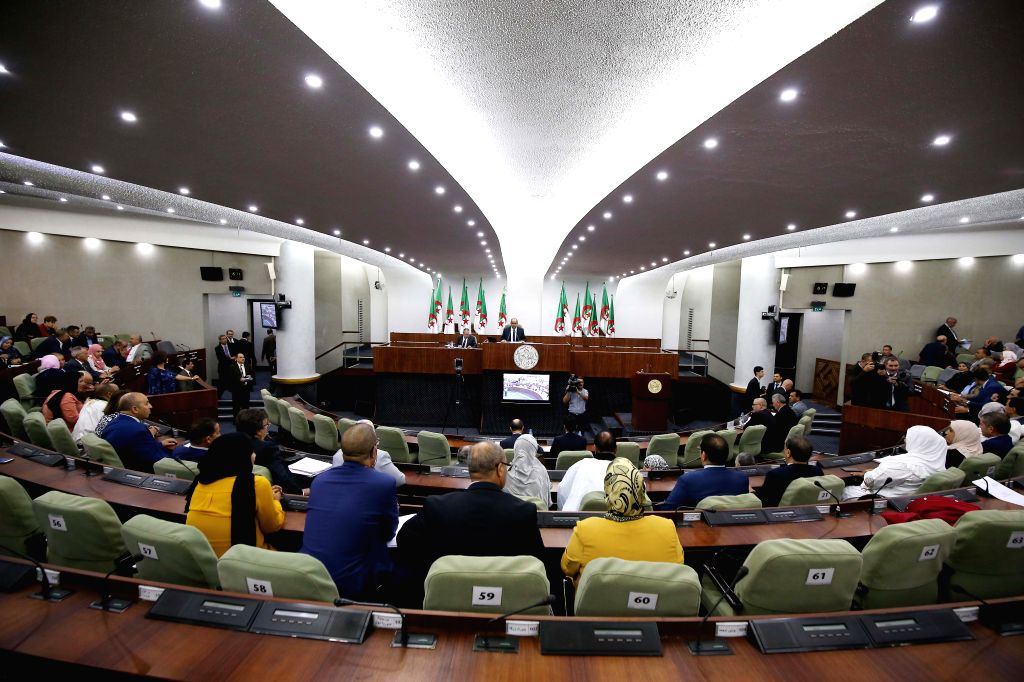 ALGIERS, Sept. 12, 2019 - Algerian People's National Assembly, the lower house of the parliament, votes on a draft bill in Algiers, Algeria, on Sept. 12, 2019. Algerian People's National Assembly on ...