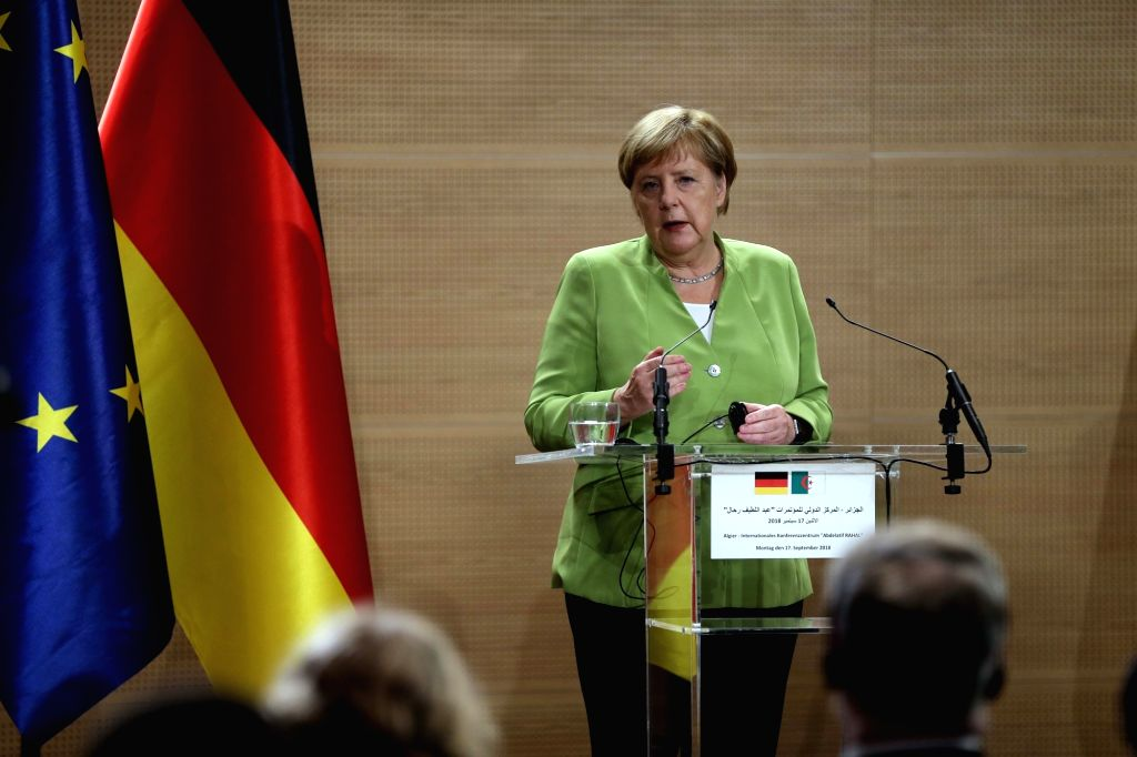 ALGIERS, Sept. 17, 2018 - German Chancellor Angela Merkel speaks at a joint press conference with Algerian Prime Minister Ahmed Ouyahia (not in the picture) in Algiers, Algeria, on Sept. 17, 2018. ... - Ahmed Ouyahia