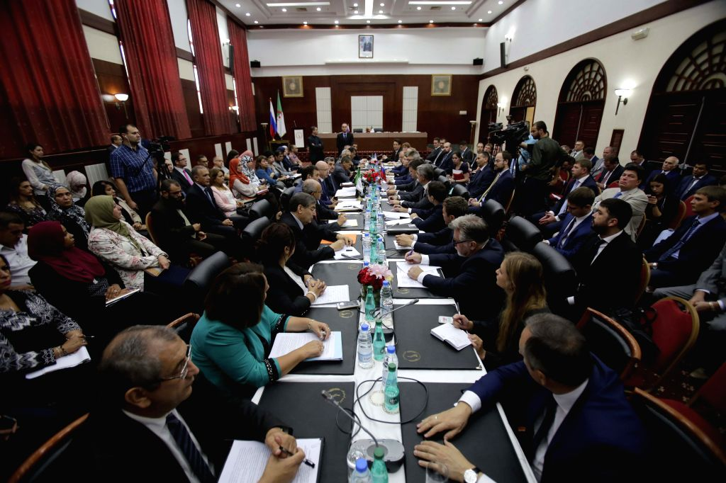 ALGIERS, Sept. 21, 2017 - Photo taken on Sept. 20, 2017 shows a scene of the eighth session of the Algerian-Russian Joint Committee in Algiers, Algeria. Algeria and Russia have contributed to ... - Alexander Novak
