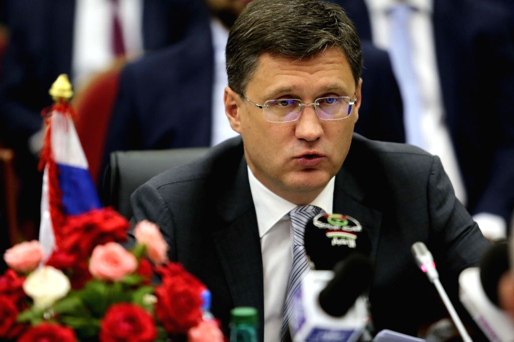 ALGIERS, Sept. 21, 2017 - Russian Oil Minister Alexander Novak speaks during the eighth session of the Algerian-Russian Joint Committee in Algiers, Algeria, Sept. 20, 2017. Algeria and Russia have ... - Alexander Novak
