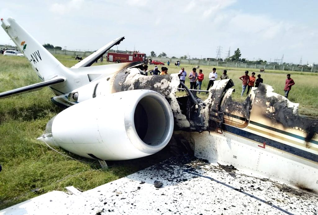 Aligarh: A debris of private aircraft that was crashed on Tuesday at the Ghanipur air strip in Uttar Pradesh's Aligarh, on Aug 27, 2019. The aircraft was flying in from Delhi to Aligarh, it ...