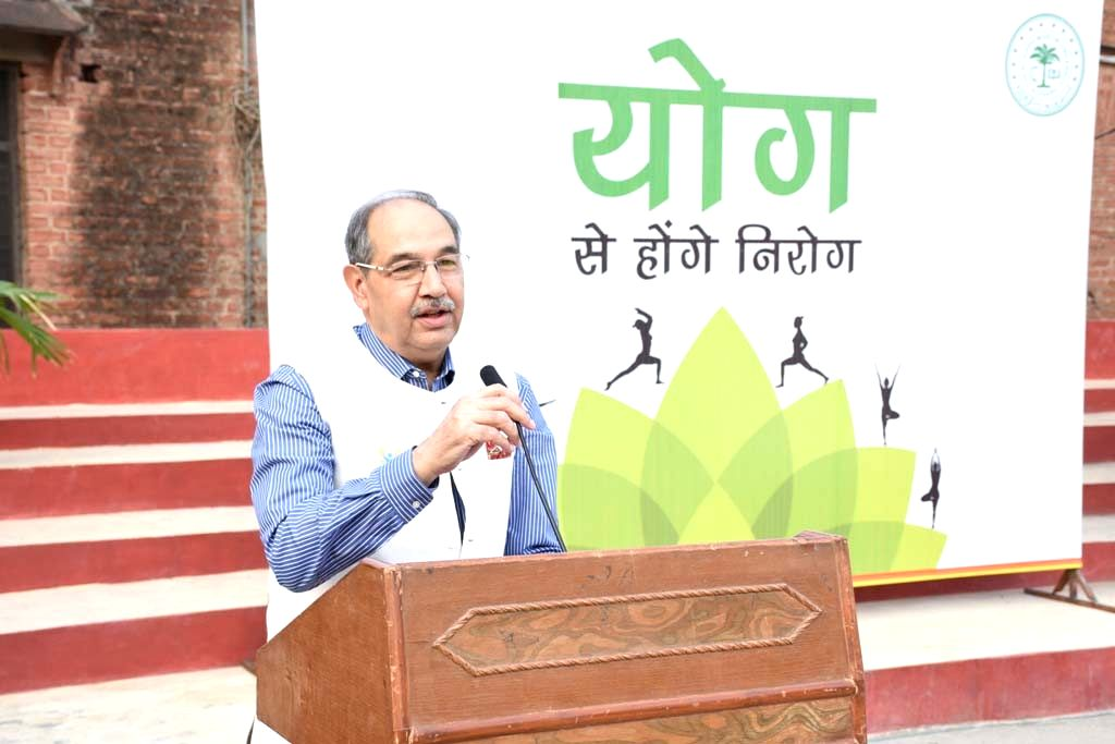 Aligarh: AMU Vice Chancellor, Professor Tariq Mansoor addresses during the 5th International Yoga Day celebrations at Aligarh Muslim University, on June 21, 2019. The week long yoga day celebrations at AMU, climaxed on Friday, with a mass yoga exerci