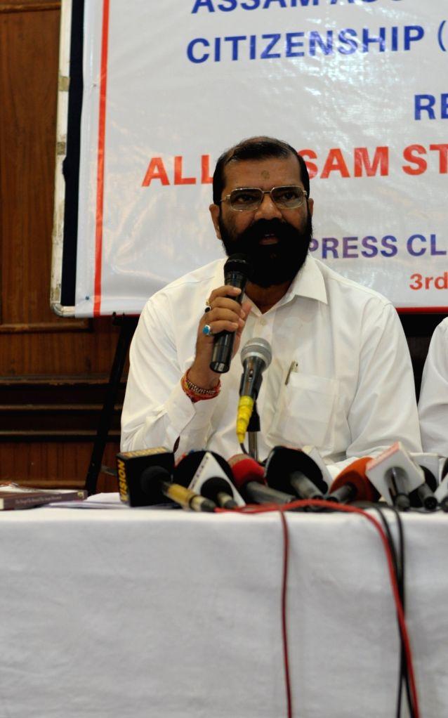 All Assam Students' Union (AASU) Chief Advisor Samujjal Bhattacharjya addresses a press conference regarding Citizenship (Amendment) Bill 2016, in New Delhi on July 3, 2018.